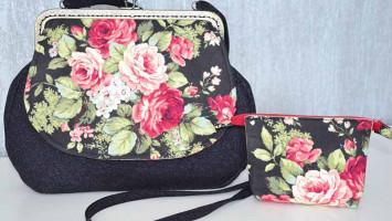 Лоскутная сумка «Чёрная роза»