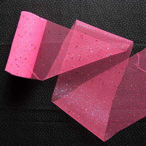 Фатин, розовый с кружочками, 15 см, FAT-B-005