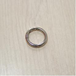 Карабин-кольцо для сумок, ⌀ 20мм, 3.8мм, никель