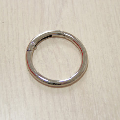 Карабин-кольцо для сумок, ⌀ 38мм, 5мм, никель