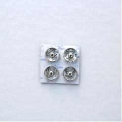 Кнопка пришивная 10мм на картоне, цвет никель, (упак. 4 шт.)