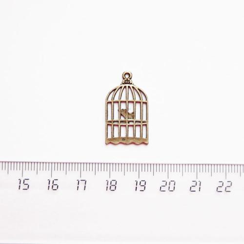 """Подвеска металлическая """"Клетка с птичкой"""", 25мм, бронза, PM-026"""