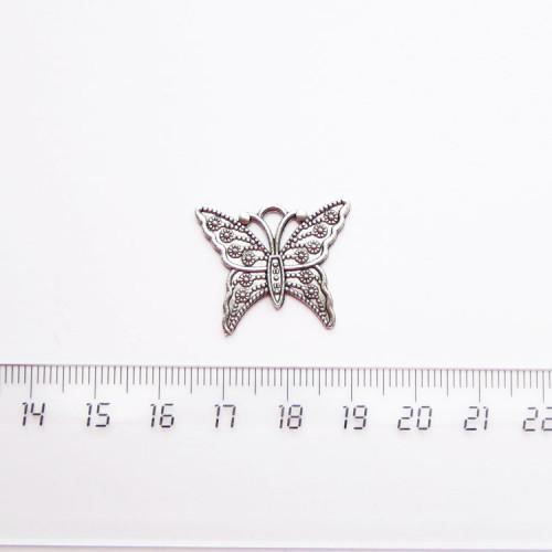 """Подвеска металлическая """"Бабочка"""", 23мм, серебро, PM-036"""