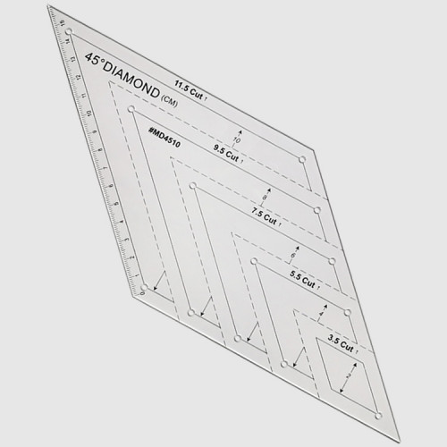 Линейка для пэчворка ромб с углом 45°, 16х16см, LPR-45