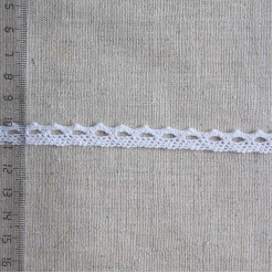 Кружево хлопковое, вязаное, KH-0001, 10мм, цвет белый