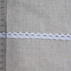 Кружево хлопковое, вязаное, 10мм, цвет белый, KH-0001