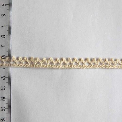 Кружево хлопковое, вязаное, 10мм, цвет бежевый, KH-0004