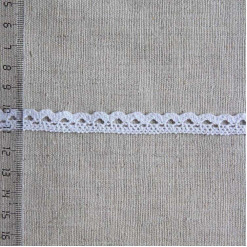 Кружево хлопковое, вязаное, KH-0007, 10мм, цвет белый