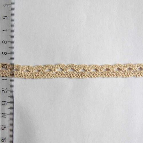 Кружево хлопковое, вязаное, KH-0008, 10мм, цвет бежевый