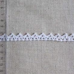 Кружево хлопковое, вязаное, KH-0009, 10мм, цвет белый