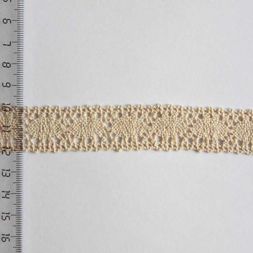 Кружево хлопковое, вязаное, KH-0014, 20мм, цвет бежевый