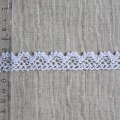 Кружево хлопковое, вязаное, 20мм, цвет белый, KH-0015