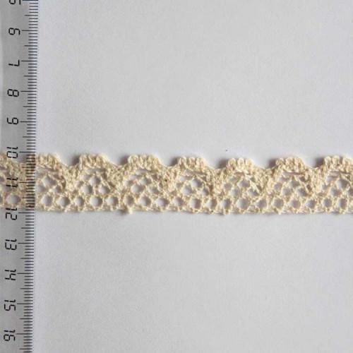 Кружево хлопковое, вязаное, KH-0016, 20мм, цвет бежевый