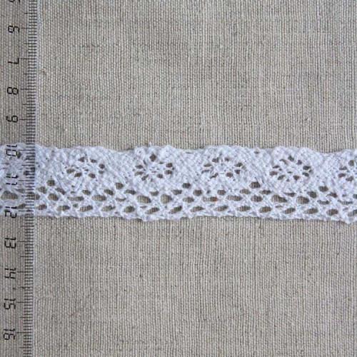 Кружево хлопковое, вязаное, KH-0017, 25мм, цвет белый