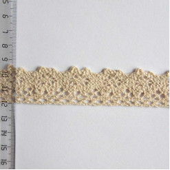 Кружево хлопковое, вязаное, KH-0018, 25мм, цвет бежевый