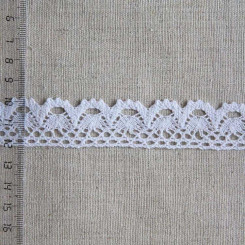 Кружево хлопковое, вязаное, KH-0019, 25мм, цвет белый