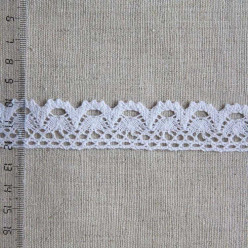 Кружево хлопковое, вязаное, 25мм, цвет белый, KH-0019