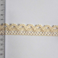 Кружево хлопковое, вязаное, KH-0020, 25мм, цвет бежевый