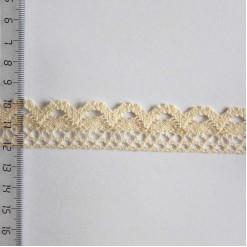 Кружево хлопковое, вязаное, 25мм, цвет бежевый, KH-0020