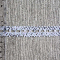 Кружево хлопковое, вязаное, KH-0021, 20мм, цвет белый