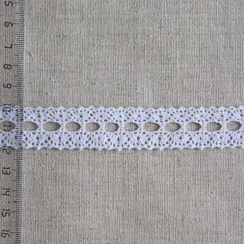 Кружево хлопковое, вязаное, 20мм, цвет белый, KH-0021