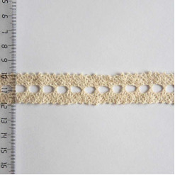 Кружево хлопковое, вязаное, KH-0022, 20мм, цвет бежевый
