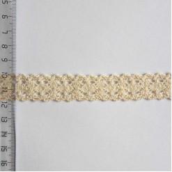 Кружево хлопковое, вязаное, KH-0024, 20мм, цвет бежевый