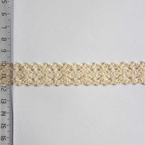 Кружево хлопковое, вязаное, 20мм, цвет бежевый, KH-0024