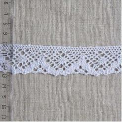 Кружево хлопковое, вязаное, KH-0025, 30мм, цвет белый