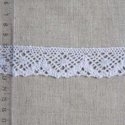 Кружево хлопковое, вязаное, 30мм, цвет белый, KH-0025