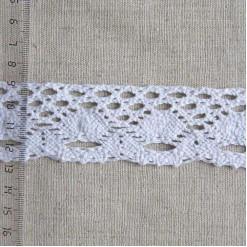 Кружево хлопковое, вязаное, KH-0027, 35мм, цвет белый
