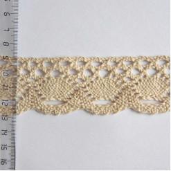 Кружево хлопковое, вязаное, KH-0028, 35мм, цвет бежевый