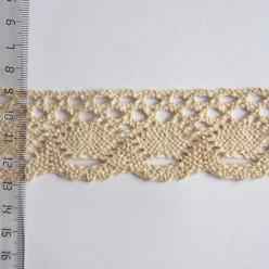 Кружево хлопковое, вязаное, 35мм, цвет бежевый, KH-0028
