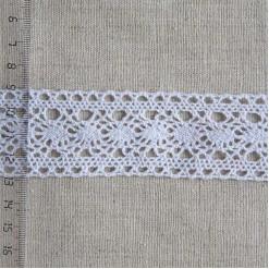 Кружево хлопковое, вязаное, 40мм, цвет белый, KH-0029