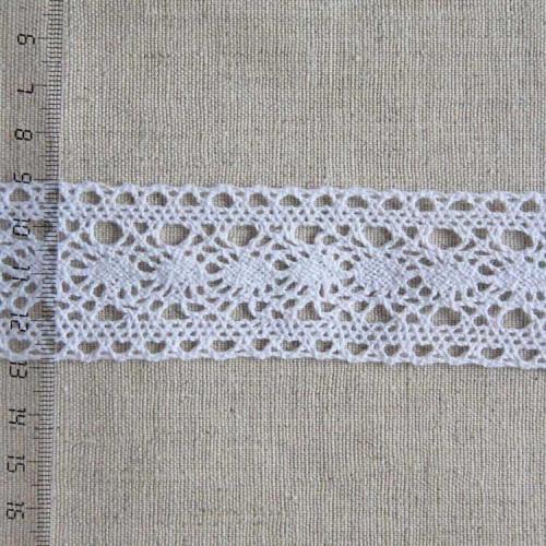 Кружево хлопковое, вязаное, KH-0029, 40мм, цвет белый