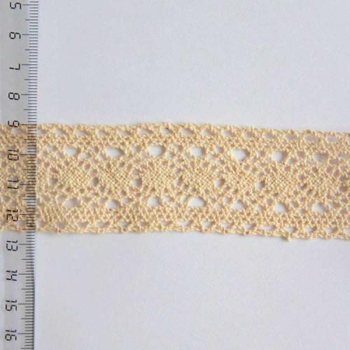 Кружево хлопковое, вязаное, KH-0030, 40мм, цвет бежевый