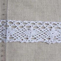 Кружево хлопковое, вязаное, 45мм, цвет белый, KH-0031