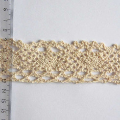 Кружево хлопковое, вязаное, KH-0032, 45мм, цвет бежевый