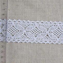 Кружево хлопковое, вязаное, KH-0033, 40мм, цвет белый