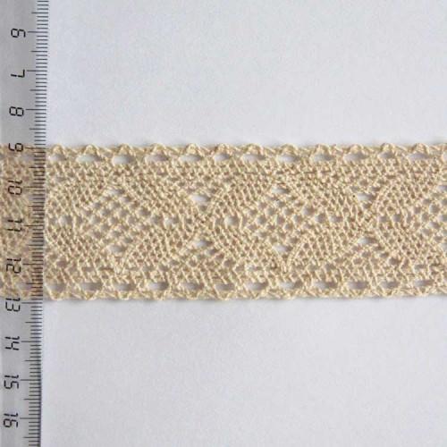 Кружево хлопковое, вязаное, 40мм, цвет бежевый, KH-0034