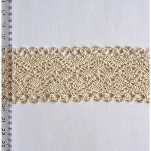 Кружево хлопковое, вязаное, KH-0036, 45мм, цвет бежевый