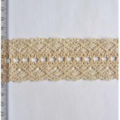 Кружево хлопковое, вязаное, KH-0038, 45мм, цвет бежевый