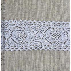 Кружево хлопковое, вязаное, KH-0039, 55мм, цвет белый