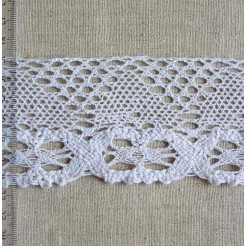 Кружево хлопковое, вязаное, KH-0041, 60мм, цвет белый