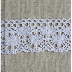 Кружево хлопковое, вязаное, KH-0043, 60мм, цвет белый