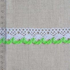 Кружево хлопковое, вязаное, KHC-0017, 30мм, цвет белый с зелёным
