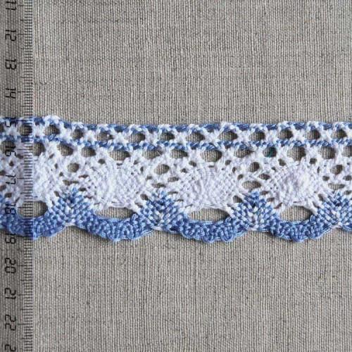 Кружево хлопковое, вязаное, KHC-0019, 40мм, цвет белый с сиреневым