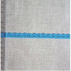 Кружево хлопковое, вязаное, KHC-0024, 10мм, цвет лазурно-голубой