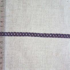 Кружево хлопковое, вязаное, KHC-0033, 8мм, цвет тёмно-ежевичный