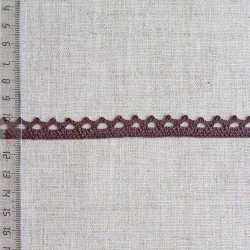 Кружево хлопковое, вязаное, KHC-0034, 12мм, цвет тёмно-коричневый
